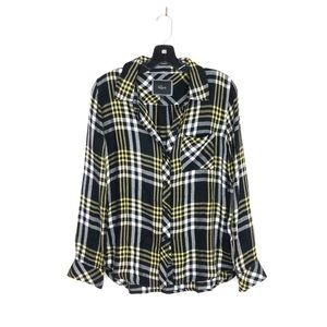 [Rails] Black Yellow Plaid Button Down Flannel